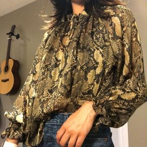 H&M Snakeskin sheer blouse